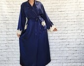 Vintage 70s Navy Satin Lace Trim Belted Long Robe M Pockets Cuffs
