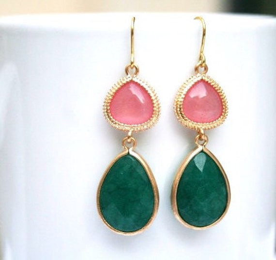 Pink and Green Earrings in Gold. Emerald Green Earrings. Green Jewelry. Gold Drop Earrings. Jade. Bridesmaid. Bridal Earrings. Wedding.Gift