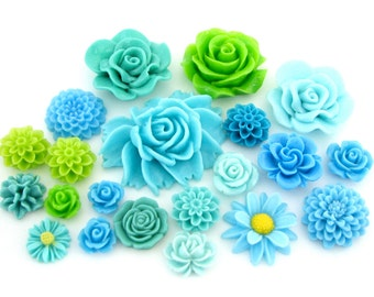 Resin Flower Cabochons : 21 piece Shades of Green, Blue & Aqua -- Paisley Park Color Trends for 2017 / 2018 -- Mixed Resin Flowers Lot (201)