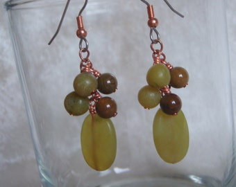 Olive Green New Jade, Copper, and Brown Agate Dangle Earrings