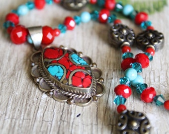 Tibetan Handcrafted Turquoise, Red Coral, and Brass Necklace and Earring Set / Jewelry Set / Gifts for Her / Turquoise and Coral / Unique