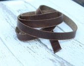 "DIY LEATHER Cuff Supply - Leather Bracelet Making - Rustic BROWN Colored 1/2"" x 48"" Leather Bracelet Strip - 2 Pack"