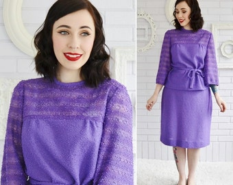 Vintage 1970s Purple Knit Blouse and Skirt Set by Marty Gutmacher Size Small or Medium