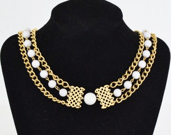 Vintage Gold Chain and White Beaded Long Necklace by Laguna