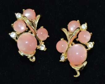 Vintage Clip-On Earrings with Pink Moon Glow Stones and Clear Rhinestones by Coro