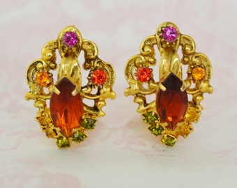 Vintage Clip-On Earrings with Autumn Rhinestones and Gold Metal