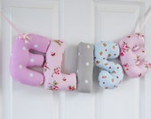 ELISE - Personalized name wall hanging. New baby girl nursery decor. Christening gift, baby shower gift, name banner. 1st Birthday gift.