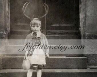 Weird Art Print, Black and White, Mixed Media Art, Girl with Antlers, Unusual Wall Art, Collage Art, Oddities, Strange Art Print