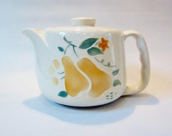 Vintage Teapot Porcelain MINI 3-Cup EASY GRIP Handle  Made in U.S.A.