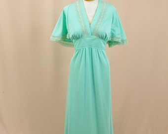 70s Seafoam Green Maxi Dress * 1970s Maxi Dress * Angel Wing Dress * Boho Dress * Prairie Dress * 1970s Boho Maxi Dress * Empire Waist Dress