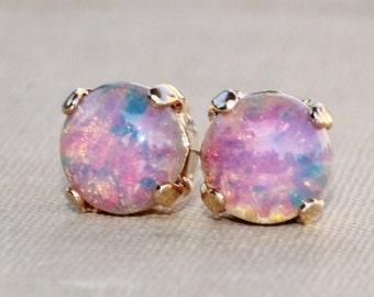 NEW Pink Fire Opal Studs, Vintage Glass Fire Opal Post Earrings,Dainty Petite Pink Opal Stud,8mm Round,Harlequin Opal,October Birthstone