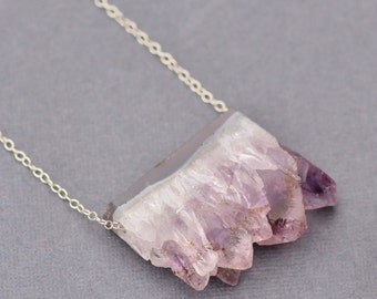 Amethyst Geode Slice Necklace,Gemstone Slice Necklace,Sterling Silver,Layering Necklace,Gemstone,Healing Crystal,Chakra,Birthstone,OOAK Gift