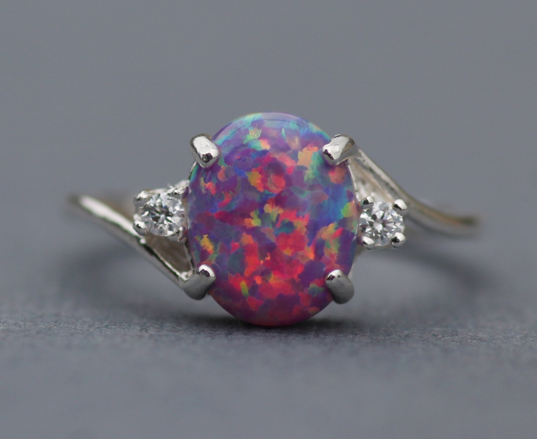 Rare Purple Fire Opal Cz Gemstone Ringlab Created Purple Opal