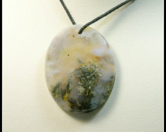 Generous Oval Plume Agate Focal Bead