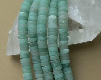 Matte Aventurine Beads - 8x3mm Heishi - 8 inch strand of 57 beads