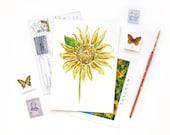 Tuscan Sunflower | Original Watercolor Painting Postcard