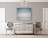 Canvas Art: Abstract Beach Decor, Blue Beach Canvas Wrap, Modern Wall Art, Large Wall Art, Ready to Hang Art, Pastel Blue White.
