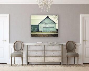 Canvas Wall Art: Aqua Barn Landscape, Large Canvas Wall Art, Ready to Hang Art, Teal Barn Decor, Aqua Barn Landscape, Rustic Home Decor.