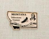 Montana Vintage Silhouette State Magnet | Yellowstone Country Glacier Travel Tourism Summer Vacation Memento | USA America 'Merica | Fridge
