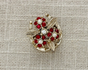 Horse Shoe Vintage Brooch   Red Horseshoe Pin w/ Rhinestone Flowers   Gold Brooches in USA from Vintage Diehls Brooch Bouquet   Vtg Pin 15G