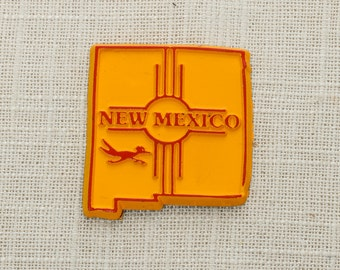 New Mexico Vintage State Magnet Silhouette | Road Runner Southwest Travel Tourism Summer Vacation Memento Yellow | USA America | Fridge