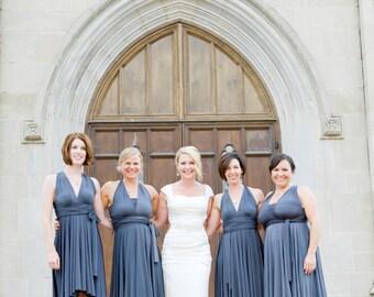 Gray Infinity Wrap Bridesmaid Dress