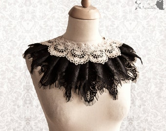 Capelet Victorian, Steampunk collar, romantic goth, black ivory lace, Somnia Romantica, size free see item details for measurements