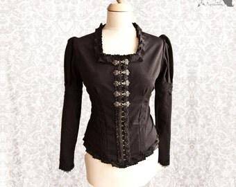 Blouse Victorian, Steampunk top, romantic goth shirt, black, Devota, Somnia Romantica, size medium - large see item details for measurements