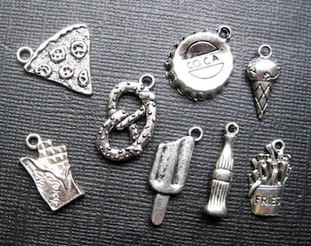 Junk Food Charm Collection in Silver Tone - C2304