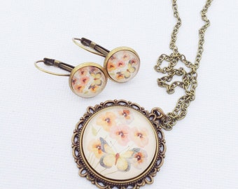 Glass necklace and earrings gift set, unique birthday present for ladies, bronze vintage style butterfly and floral photo pendant