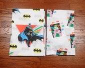 vintage 80s Batman Joker sheet set twin flat fitted bed bedding 1980 1989 DC Comics reclaimed fabric material