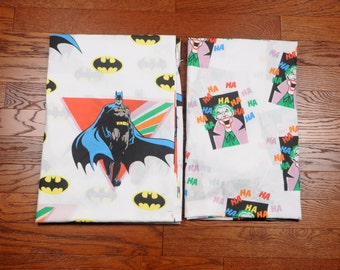 vintage 80s Batman Joker sheet set twin flat fitted bed bedding 1980 1989 DC Comics reclaimed fabric material