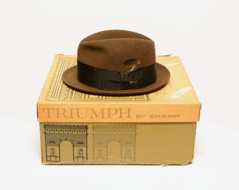 vintage 60s fedora chocolate brown animal pin wide hatband petit brim 1960 Champ Triumph felted beaver fedora 6.75 6 3/4 small S