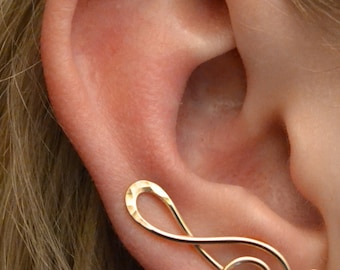 Treble Clef Earring Pin - 14k Gold Filled , Sterling Silver, or 14K Rose Gold Filled