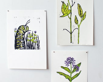 Set of three Monarch Caterpillar and Milkweed themed hand-pulled lino-prints.