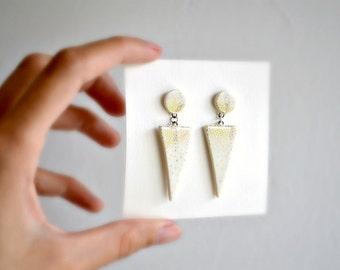 Warrior earrings - 24K gold and porcelain statement sterling silver stud earrings - jasmin blanc porcelain jewelry