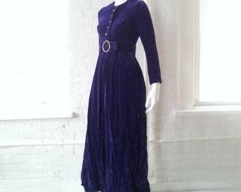 Purple Velvet Prom Dress 1960s Vintage Evening Ball Gown Malcolm Charles Mod Rhinestone Full Skirt Baroque Boho Glam Velvet Red Carpet Dress