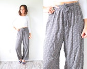 Vintage floral boho high waisted pants // high waist pants // black boho 90's pants // hippie boho summer pants // peasant festival pants