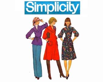 1970s Smock Dress Peasant Blouse UNCUT Sewing Pattern Simplicity 7175 Size Medium 12-14 Bust 34-36 Boho Chic Chelsea Girl Dress w/ tie belt
