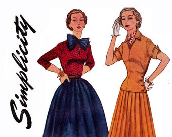 Vintage 1950 Sewing Pattern Skirt Blouse Overblouse detachable Bow Size 11 Bust 29 Junior misses Simplicity 3969 50s UNCUT Pattern
