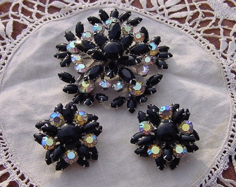 Vintage Demi Parure in Black and White Rhinestones Juliana Style Brooch