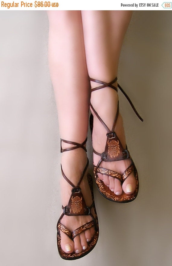20% Brown Burnished Leather Lace Up Handmade Flat Sandals With Design - Fantasy II