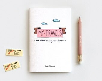 Personalized Travel Journal & Pencil Set, Stocking Stuffer Gift Set, Cute Recycled Notebook - My Travels and Daring Adventures