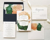 "Hydrangea Wedding Invitations, Classic and Elegant Wedding Invitation, Navy, Blush, Ivory, Floral Envelope Liners - ""Blush Hydrangea"" Sample"