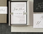 """Calligraphy Wedding Invitations, Glitter Boxed Wedding Invitation, Black, White - """"Black Script Box Invite """" Sample - NEW LOWER PRICE!"""
