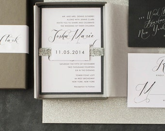 calligraphy wedding invitations glitter boxed wedding invitation black white black script - Modern Wedding Invitations