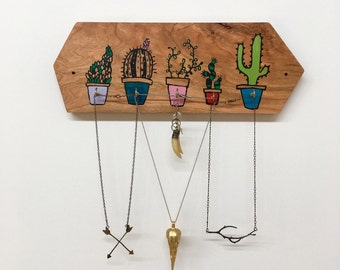 Cactus Jewelry Holder, Back to School, Key Hook, Reclaimed Wood Decor, Hexagon
