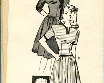 1940s Anne Adams Mail Order Dress in 3 Styles Sewing Pattern 4235, Size 17, Bust 35, Factory Folded