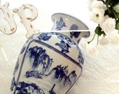 Vintage Classic Blue and White Ming influenced vase 1980s