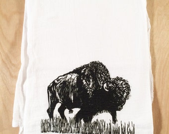 Buffalo Screen Printed Tea Towel